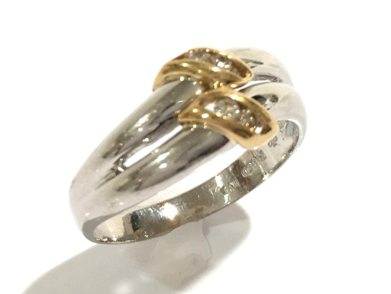 【中古】ジュエリー ダイヤモンドリング 指輪 レディース PT850 プラチナ×K18×ダイヤモンド(0.07ct) | JEWELRY リング K18 18K 18金 美品 ブランドオフ BRANDOFF
