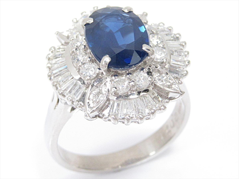 【中古】【送料無料】ジュエリー サファイアリング 指輪 レディース PT900 プラチナxサファイア(2.071ct)xダイヤモンド(1.03ct) | JEWELRY リング 美品 ブランドオフ BRANDOFF