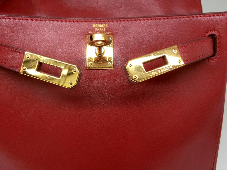 uk availability 66103 a5026 リュック HERMES   レッド(ゴールド金具) ボックスカーフ ...