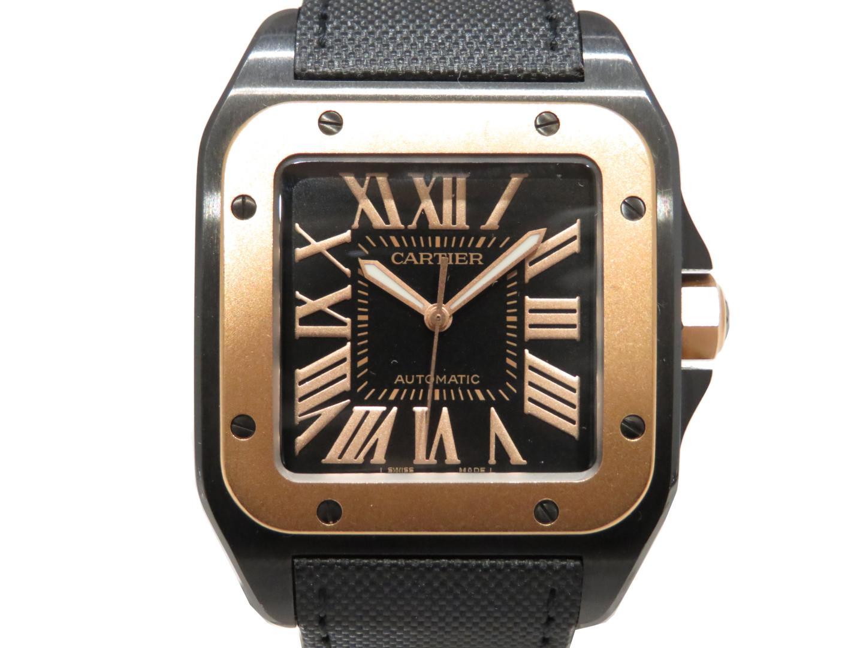 【中古】カルティエ サントス 100LM 腕時計 ウォッチ メンズ K18PG(ピンクゴールド)×チタン (W2020009)