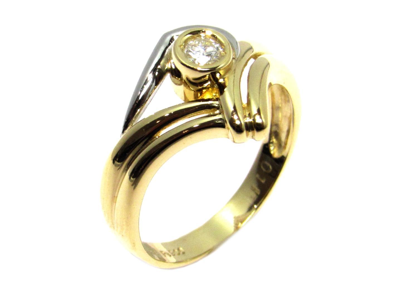 【中古】ジュエリー ダイヤモンドリング レディース K18YG(750) イエローゴールド×PT900×0.11ct ゴールド×シルバー×クリアー | JEWELRY リング K18 18K 18金 美品 ブランドオフ BRANDOFF