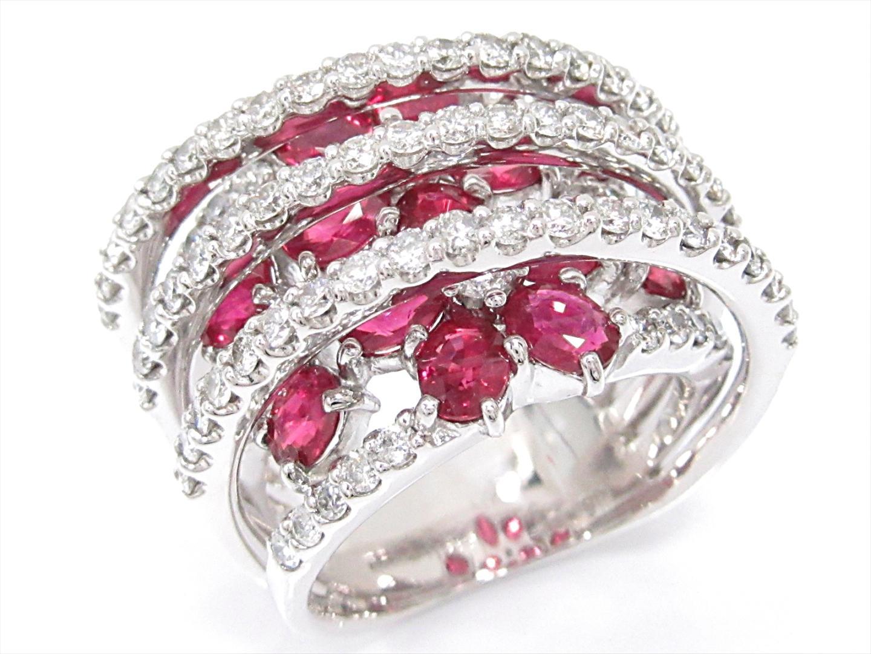 【中古】【送料無料】ジュエリー ルビーリング 指輪 レディース K18WG(750) ホワイトゴールドxルビー(4.00ct)xダイヤモンド(1.85ct) | JEWELRY リング K18 18K 18金 美品 ブランドオフ BRANDOFF