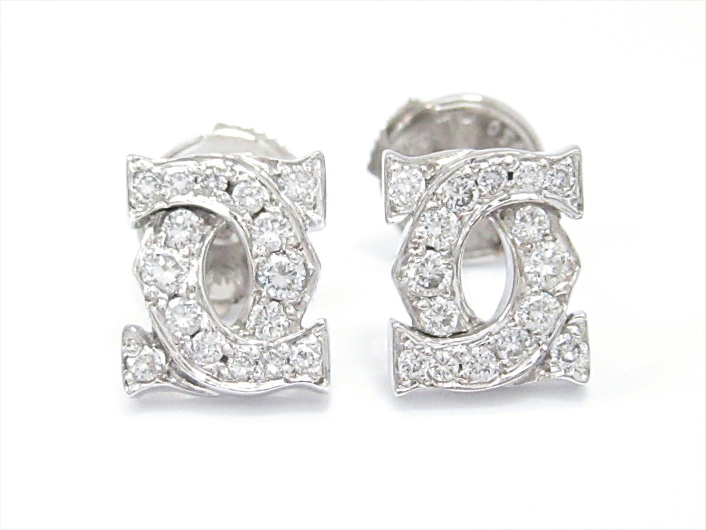 【中古】【送料無料】カルティエ アントルラセピアス レディース K18WG(750) ホワイトゴールドxダイヤモンド(石目なし) | Cartier ピアス K18 18K 18金 ブランド 美品 ブランドオフ BRANDOFF