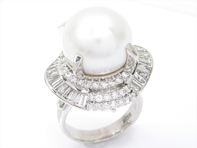 【中古】【送料無料】ジュエリー 南洋パールリング 指輪 レディース PM900xパールxダイヤモンド(1.60/0.88ct) | JEWELRY リング 美品 ブランドオフ BRANDOFF