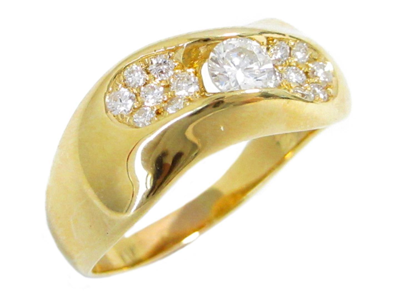 【中古】【送料無料】ジュエリー ダイヤモンド リング 指輪 レディース K18YG(750) イエローゴールド×ダイヤモンド(0.227ct)×ダイヤモンド(0.225ct) | JEWELRY リング K18 18K 18金 美品 ブランドオフ BRANDOFF
