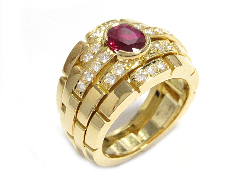【中古】【送料無料】カルティエ オリアーヌリング 指輪 レディース K18YG(750) イエローゴールド ルビー×ダイヤ(石目打刻なし) | Cartier リング K18 18K 18金 美品 ブランド ブランドオフ BRANDOFF
