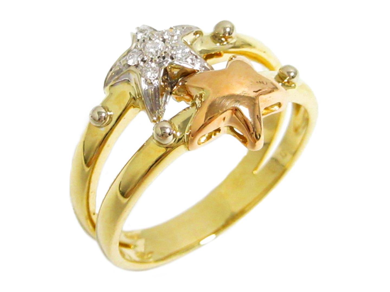 【中古】【送料無料】ジュエリー ダイヤモンドリング 指輪 レディース K18YG(750) イエローゴールド K18WGホワイトゴールド K18ピンクゴールド ダイヤモンド0.06ct | JEWELRY リング K18 18K 18金 美品 ブランドオフ BRANDOFF