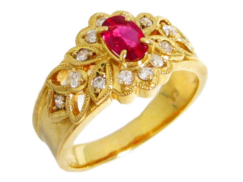 【中古】【送料無料】ジュエリー ダイヤモンドリング 指輪 レディース K18YG(750) イエローゴールド ルビー0.46ct ダイヤモンド0.24ct | JEWELRY リング K18 18K 18金 美品 ブランドオフ BRANDOFF