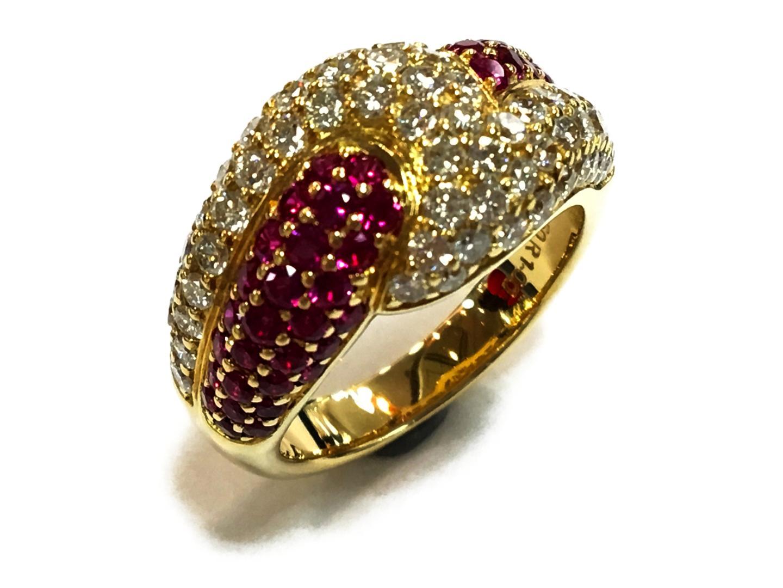 【中古】【送料無料】ジュエリー ルビーリング 指輪 メンズ レディース K18YG(750) イエローゴールドxルビーー1.00xダイヤモンド1.50ct レッドxクリアーxゴールド | JEWELRY リング K18 18K 18金 美品 ブランドオフ BRANDOFF