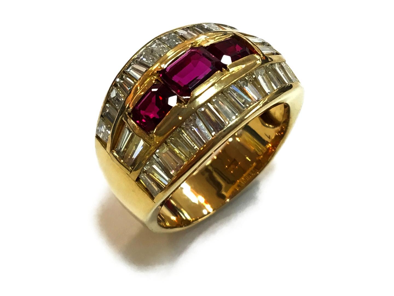 【中古】【送料無料】ジュエリー ルビーリング 指輪 メンズ レディース K18YG(750) イエローゴールドxルビー1.50xダイヤモンド2.05ct レッドxクリアーxゴールド   JEWELRY リング K18 18K 18金 美品 ブランドオフ BRANDOFF
