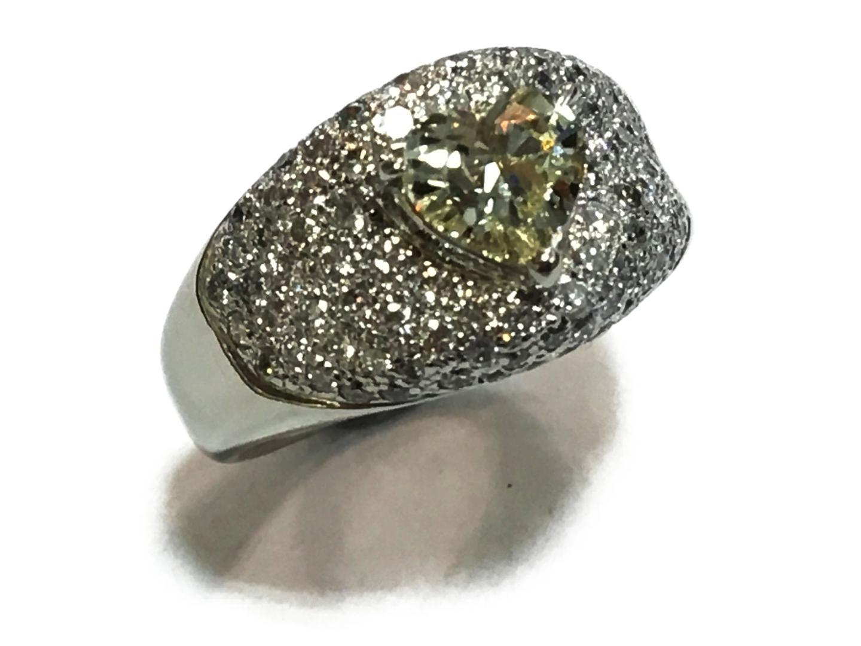 【中古】【送料無料】ジュエリー ダイヤモンドリング 指輪 レディース PT900 プラチナダイヤモンド1.013ctx1.00ct イエローxクリアーxシルバー | JEWELRY リング 美品 ブランドオフ BRANDOFF