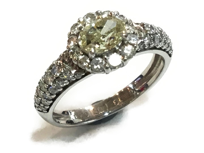 【中古】【送料無料】ジュエリー ダイヤモンドリング 指輪 レディース K18WG(750) ホワイトゴールドxダイヤモンド0.707ctx0.73ct イエローxクリアーxシルバー | JEWELRY リング K18 18K 18金 美品 ブランドオフ BRANDOFF