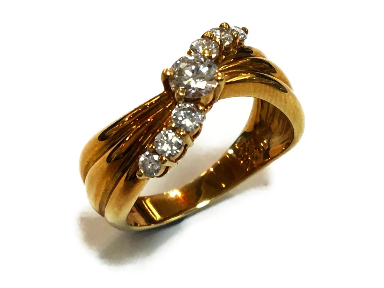 【中古】【送料無料】ジュエリー ダイヤモンドリング 指輪 レディース K18YG(750) イエローゴールドxダイヤモンド0.24ctx0.26ct クリアーxゴールド | JEWELRY リング K18 18K 18金 美品 ブランドオフ BRANDOFF