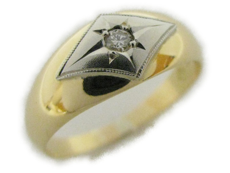 【中古】ジュエリー 18金 プラチナ×ダイヤモンド 美品 K18 リング レディース メンズ BRANDOFF JEWELRY 18K K18YG(750) イエローゴールド×Pt ブランドオフ | ダイヤモンドリング
