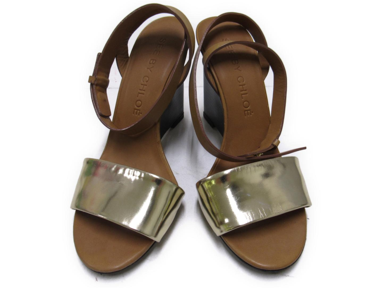 【中古】シーバイクロエ サンダル レディース ベージュ×ゴールド | SEE BY CHLOE くつ 靴 美品 ブランド ブランドオフ BRANDOFF
