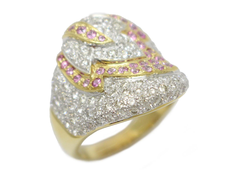 【中古】【送料無料】ジュエリー ダイヤモンド ピンクサファイア リング 指輪 メンズ レディース K18YG(750) イエローゴールドダイヤモンド(2.72ct)×ピンクサファイア(0.79ct) | JEWELRY リング K18 18K 18金 美品 ブランドオフ BRANDOFF
