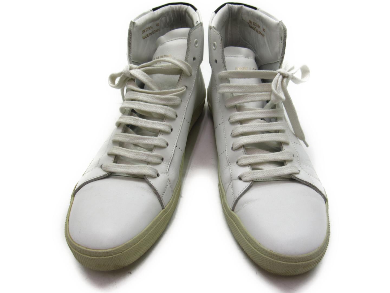 【中古】【送料無料】サン・ローラン スニーカー メンズ レディース レザー ホワイト x ブラウン | Saint Laurent くつ 靴 美品 ブランド ブランドオフ BRANDOFF