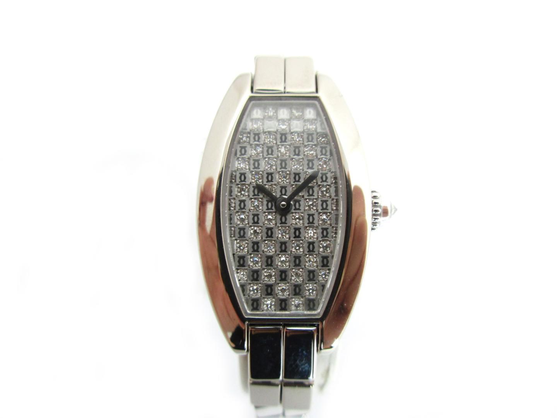 【中古】【送料無料】カルティエ ミニ トノーラニエール 腕時計 ウオッチ レディース K18WG(750)ホワイトゴールドダイヤモンド シルバー (WJ2002W3)   Cartier クオーツ 時計 WATCH K18 18K 18金 美品 ブランド ブランドオフ BRANDOFF