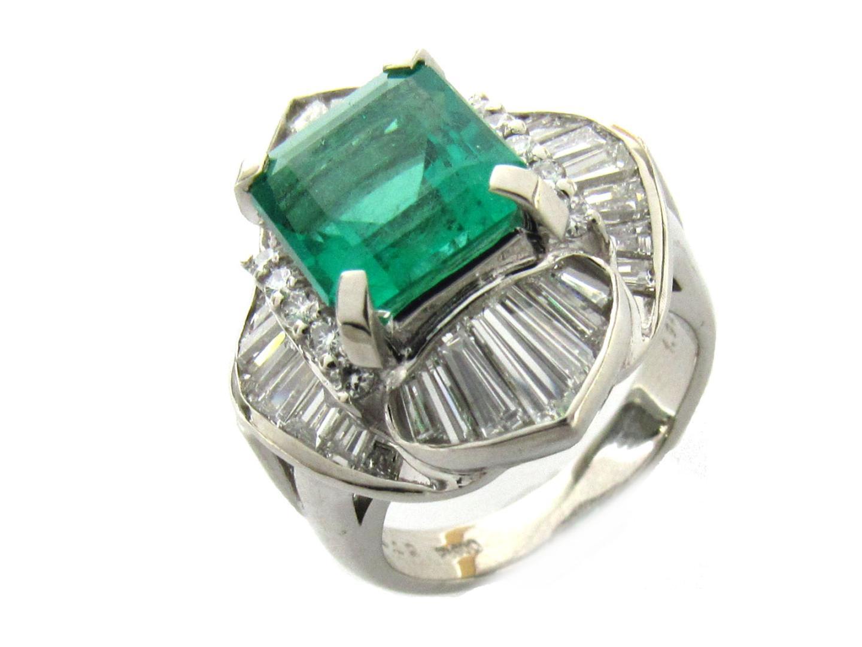 【中古】【送料無料】ジュエリー エメラルド ダイヤモンド リング 指輪 レディース PT900 プラチナ x エメラルド(3.02ct) x ダイヤモンド(1.92ct) | JEWELRY リング 美品 ブランドオフ BRAND OFF