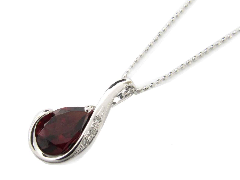 【送料無料】ジュエリー ガーネット ダイヤモンド ネックレス レディース K18WG(750) ホワイトゴールド x ガーネット x ダイヤモンド(0.02ct) | JEWELRY ネックレス 新品 18K K18 18金 ブランドオフ BRAND OFF