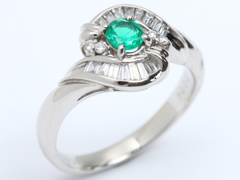 【中古】【送料無料】ジュエリー エメラルド ダイヤモンド リング 指輪 レディース PT900 プラチナ x エメラルド(0.34ct) x ダイヤモンド(0.20ct) | JEWELRY リング 美品 ブランドオフ BRAND OFF
