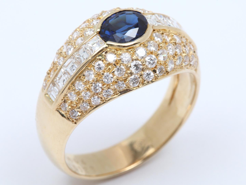 【中古】【送料無料】ジュエリー サファイア ダイヤモンド リング 指輪 レディース K18YG(750) イエローゴールド x サファイア(0.64ct) x ダイヤモンド(1.25ct) | JEWELRY リング 美品 18K K18 18金 ブランドオフ BRAND OFF