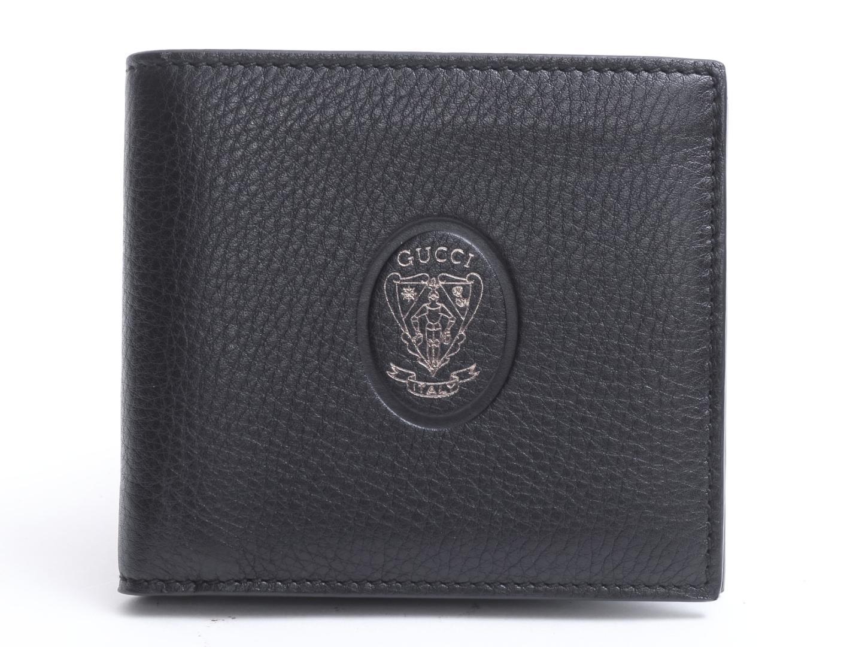 【中古】【送料無料】グッチ 二つ折財布 メンズ レザー ブラック | GUCCI 財布 ウォレット 二つ折り 美品 ブランド ブランドオフ BRAND OFF