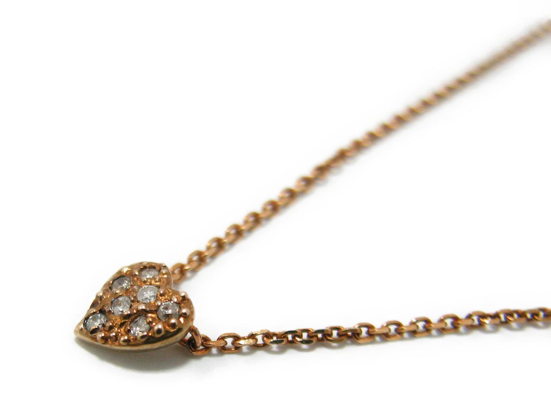 【中古】ジュエリー agite アガット ダイヤモンド ネックレス レディース K10 ピンクゴールド x ダイヤモンド (0.04ct) | JEWELRY ネックレス 美品 ブランドオフ BRAND OFF