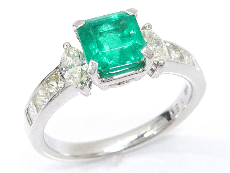 【中古】【送料無料】ジュエリー エメラルドリング 指輪 レディース PT900 プラチナxエメラルド(1.51ct)xダイヤモンド(0.87ct)   JEWELRY リング 美品 ブランドオフ BRAND OFF