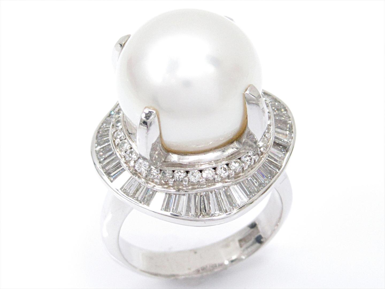 【中古】【送料無料】ジュエリー パールリング 指輪 レディース PT900 プラチナxパールxダイヤモンド(1.58ct) | JEWELRY リング 美品 ブランドオフ BRAND OFF