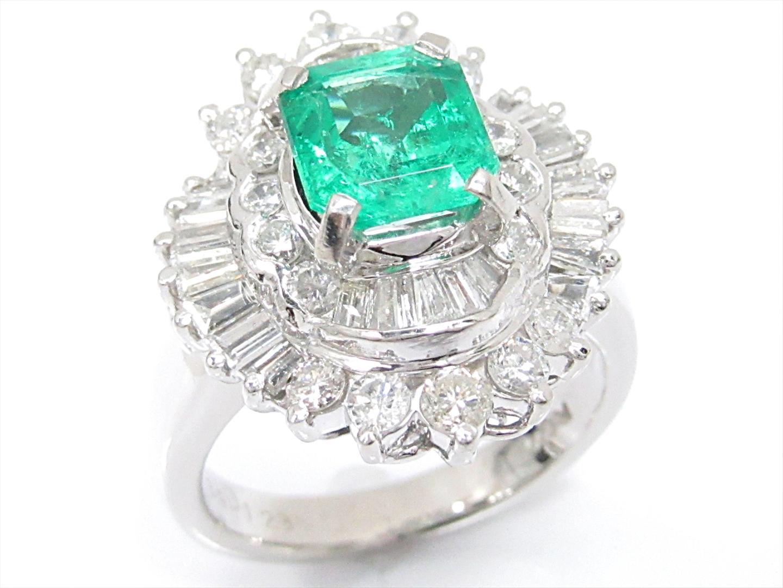 【中古】【送料無料】ジュエリー エメラルドリング 指輪 レディース PT900 プラチナxエメラルド(1.39ct)xダイヤモンド(1.23ct) | JEWELRY リング 美品 ブランドオフ BRAND OFF