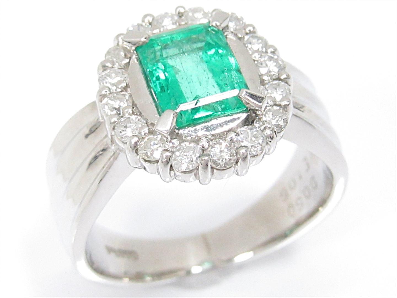 【中古】【送料無料】ジュエリー エメラルドリング 指輪 レディース PT900 プラチナxエメラルド(1.06ct)xダイヤモンド(0.50ct) | JEWELRY リング 美品 ブランドオフ BRAND OFF