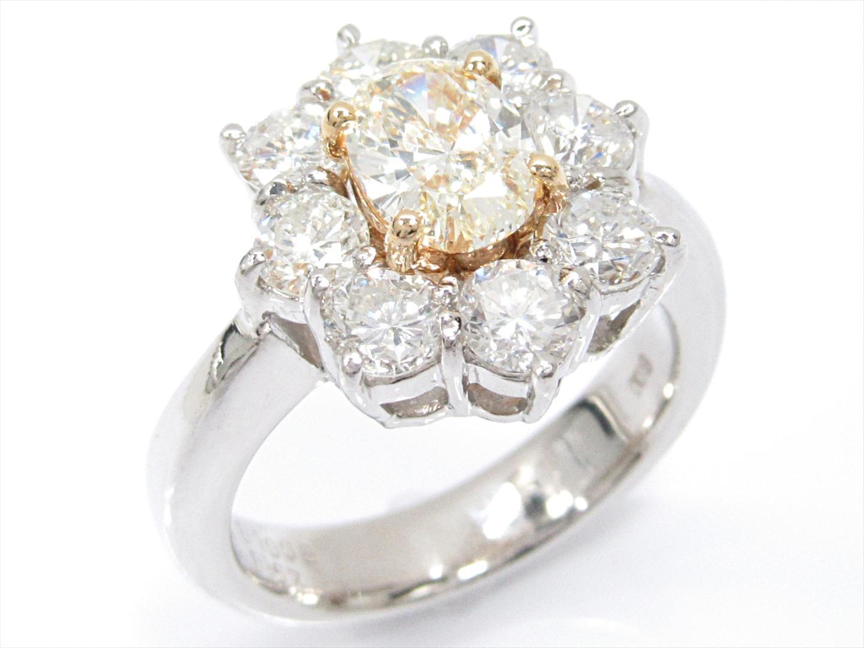 【中古】【送料無料】ジュエリー ダイヤモンドリング 指輪 レディース PT900 プラチナxK18YG(750)イエローゴールドxダイヤモンド(1.008ct/1.67ct) | JEWELRY リング 美品 18K K18 18金 ブランドオフ BRAND OFF