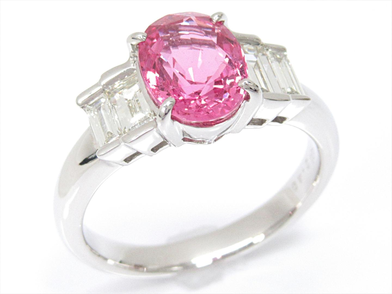 【中古】【送料無料】ジュエリー ピンクサファイアリング 指輪 レディース PT900 プラチナxピンクサファイア(2.48ct)xダイヤモンド(0.55ct) | JEWELRY リング 美品 ブランドオフ BRAND OFF