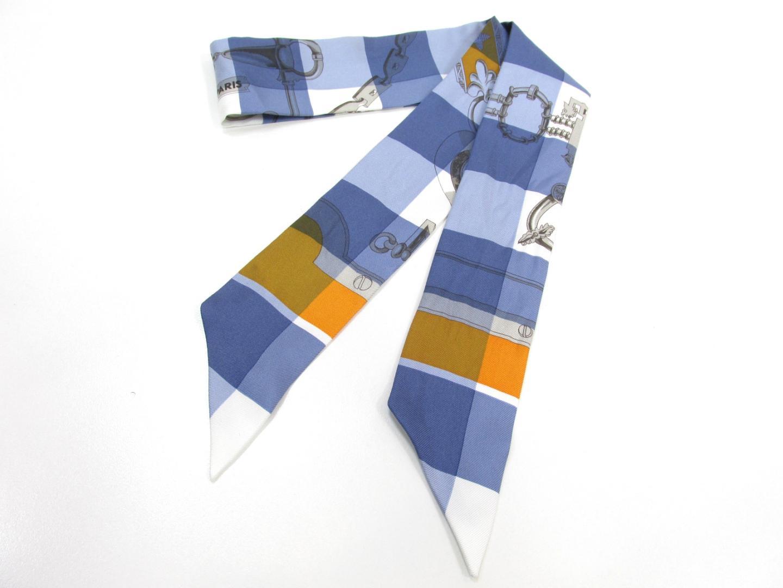 【中古】エルメス トゥイリー スカーフ レディース シルク ブルー×ホワイト | HERMES スカーフ ツイリー 美品 ブランド ブランドオフ BRAND OFF