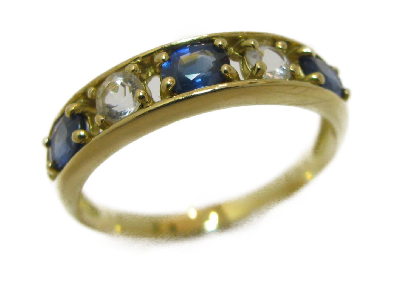 【中古】ジュエリー サファイアリング 指輪 レディース K18YG(750) イエローゴールド×サファイア0.60ct×ダイヤモンド | JEWELRY リング 美品 18K K18 18金 ブランドオフ BRAND OFF