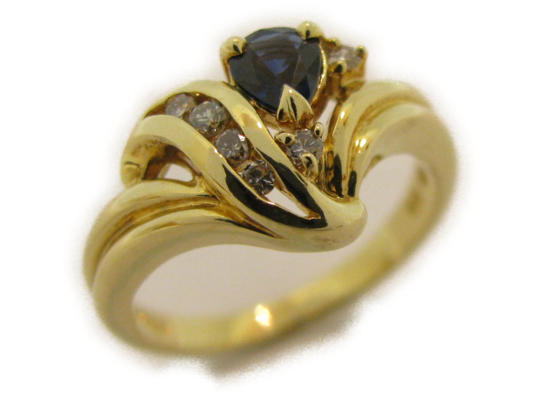 【中古】ジュエリー サファイアリング 指輪 レディース K18YG(750) イエローゴールド×サファイア×ダイヤモンド0.09ct | JEWELRY リング 美品 18K K18 18金 ブランドオフ BRAND OFF