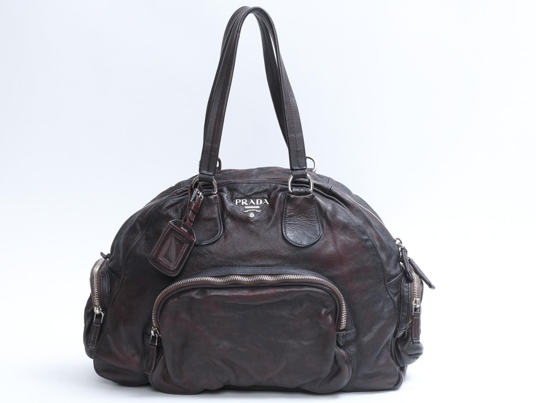 【中古】【送料無料】プラダ ボストンバッグ レディース レザー ブラウン (BL0414) | PRADA ボストンバッグ ハンドバッグ ハンドバック 手提げ バッグ バック 鞄 かばん ブランドバッグ ブランドバック BAG ブランド ブランドオフ BRAND OFF