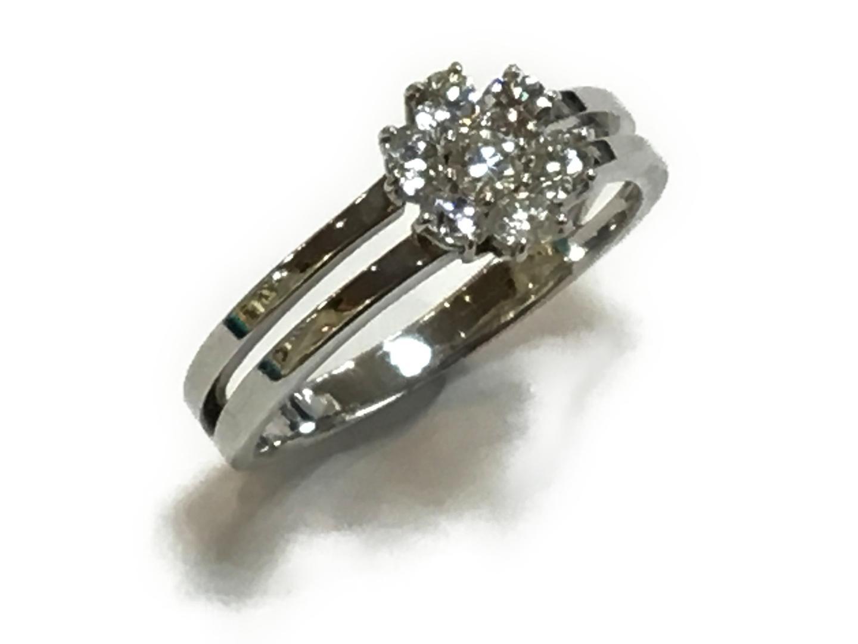 【中古】【送料無料】ジュエリー ダイヤモンド リング 指輪 レディース K18WG(750) ホワイトゴールドxダイヤモンド0.50ct クリアーxシルバー | JEWELRY リング 美品 18K K18 18金 ブランドオフ BRAND OFF