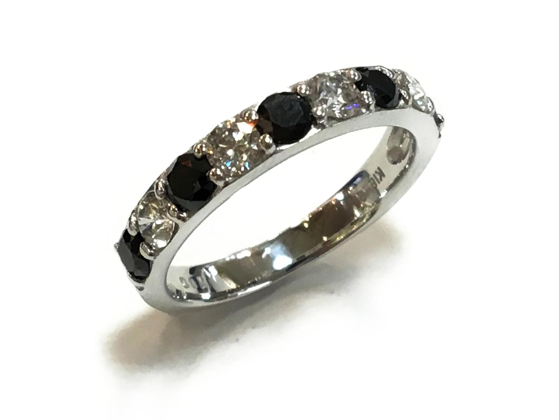 【中古】【送料無料】ジュエリー ブラックダイヤ リング 指輪 メンズ レディース K18WG(750) ホワイトゴールドxダイヤモンド1.00ct ブラックxクリアーxシルバー | JEWELRY リング 美品 18K K18 18金 ブランドオフ BRAND OFF