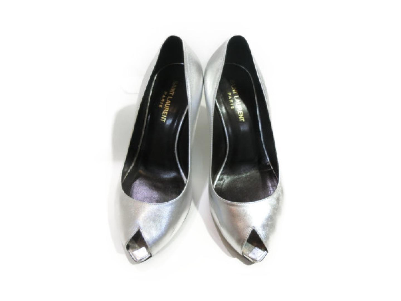 【中古】サン・ローラン パンプス レディース レザー シルバー   Saint Laurent 靴 くつ 美品 ブランド ブランドオフ BRAND OFF