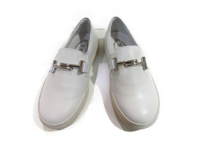 【中古】トッズ スリッポン スニーカー レディース レザー ホワイト | TOD'S 靴 くつ スリッポン 美品 ブランド ブランドオフ BRAND OFF