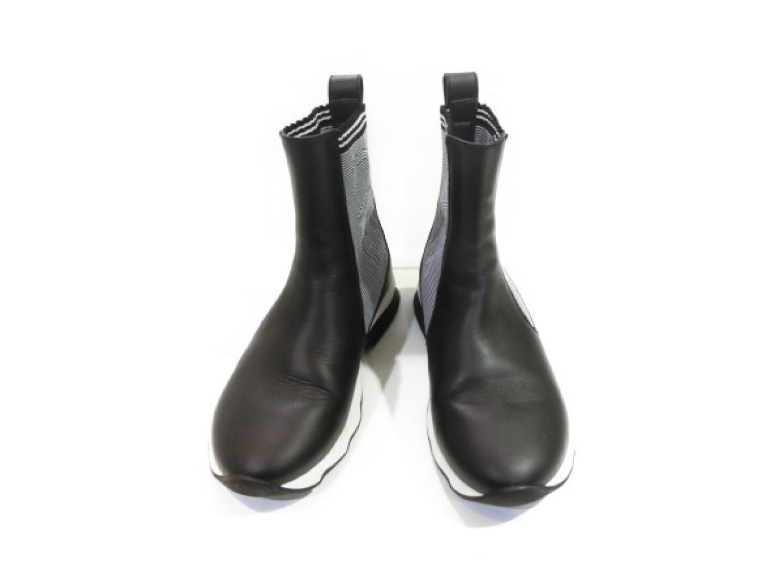 【中古】【送料無料】フェンディ ブーツ レディース レザー x ナイロン ブラック x ホワイト | FENDI 靴 くつ 美品 ブランド ブランドオフ BRAND OFF