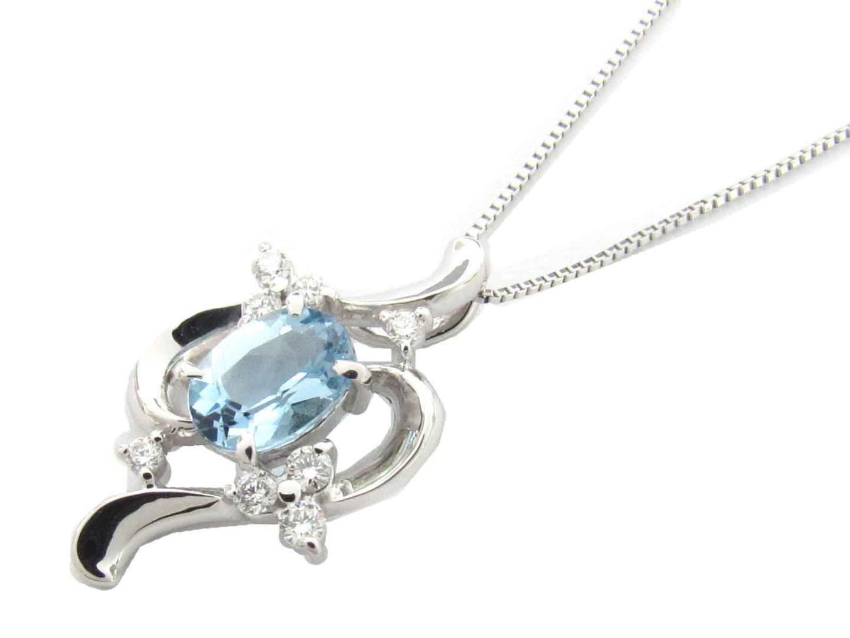【送料無料】ジュエリー アクアマリン ダイヤモンド ネックレス レディース K18WG(750) ホワイトゴールド x アクアマリン x ダイヤモンド(0.16ct) | JEWELRY ネックレス 新品 18K K18 18金 ブランドオフ BRAND OFF