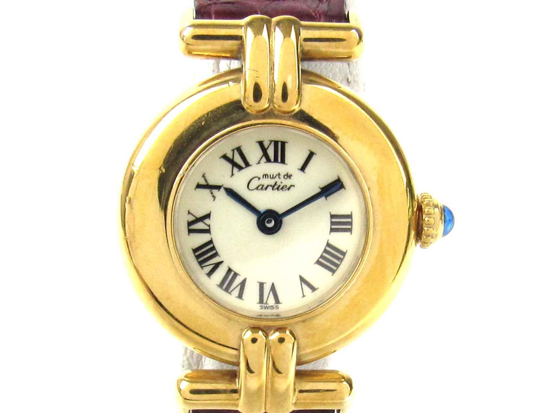 【中古】【送料無料】カルティエ マストコリゼ ヴェルメイユ ウォッチ 腕時計 レディース レザーベルト x GP(ゴールドメッキ) (W1000653) | Cartier クオーツ 時計 WATCH 美品 ブランド ブランドオフ BRAND OFF