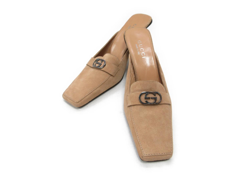 【中古】グッチ ミュール レディース スエード ベージュ | GUCCI 靴 くつ サンダル ブランド ブランドオフ BRAND OFF
