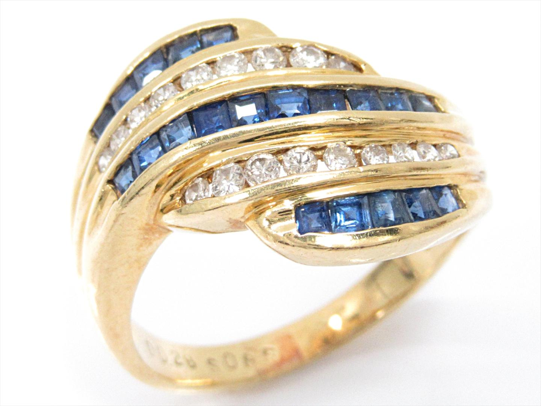 【中古】【送料無料】ジュエリー サファイアリング 指輪 レディース K18YG(750) イエローゴールドxサファイア(0.85ct)xダイヤモンド(0.28ct) | JEWELRY イヤリング 美品 18K K18 18金 ブランドオフ BRAND OFF