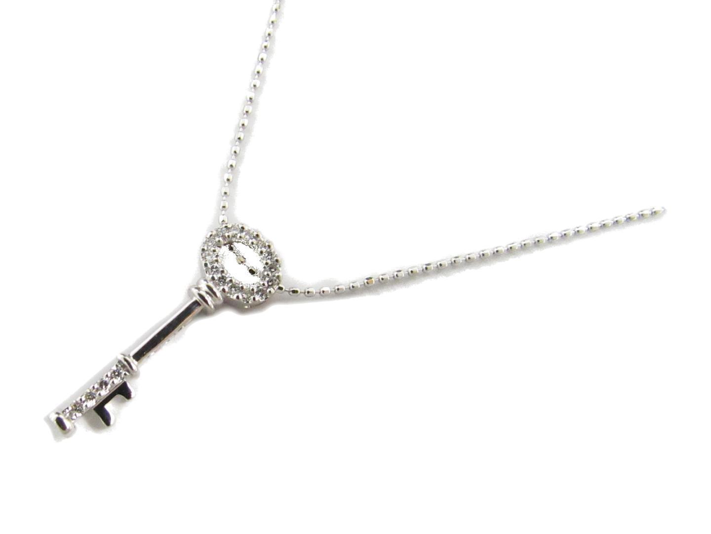 【送料無料】ジュエリー キー ダイヤモンド ネックレス レディース K18WG(750) ホワイトゴールドxダイヤモンド0.09ct | JEWELRY ネックレス 新品 18K K18 18金 ブランドオフ BRAND OFF
