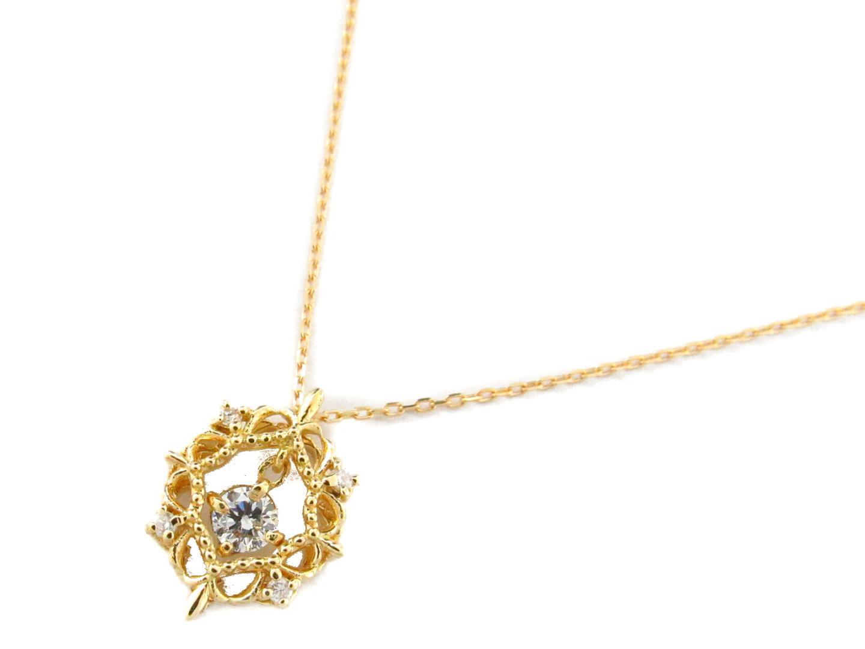 【送料無料】ジュエリー ダイヤモンド ネックレス レディース K18YG(750) イエローゴールドxダイヤモンド0.13ct | JEWELRY ネックレス 新品 18K K18 18金 ブランドオフ BRAND OFF