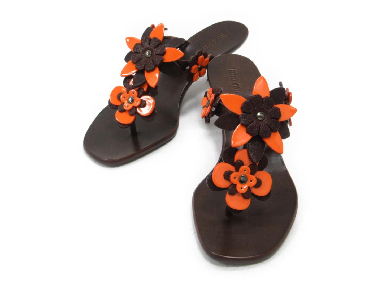 【中古】ミュウミュウ サンダル レディース レザー ブラウンxオレンジ | miu miu 靴 くつ サンダル 美品 ブランド ブランドオフ BRAND OFF